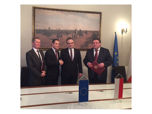 Left: Frontex Director of Corporate Governance Sakari Vuorensola, Frontex Executive Director Fabrice Leggeri, Vice Minister of Ministry of Interior and Administration Jakub Skiba, Director in Ministry of Interior and Administration Marcin Wereszczyński