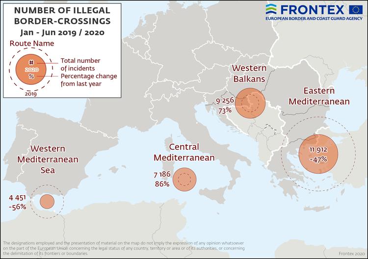 خريطة توضيحية لمعابر الوصول إلى أوروبا ونسبة استخدامها في النصف الأول من 2020 (الوكالة الأوروبية لحرس الحدود والسواحل )